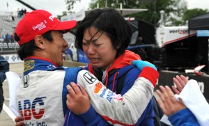 Happy tears from one of Takuma Sato's fans that came over from Japan to watch this race!