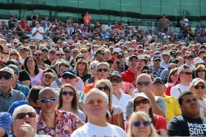 Fans watch the drivers meeting at IMS.