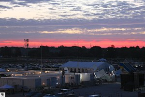 The sun rises over the television compound as ABC prepares for their 51st consecutive year of covering the Indianapolis 500.
