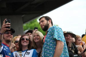 Andrew Luck takes a moment to pose for a selfie with fans.