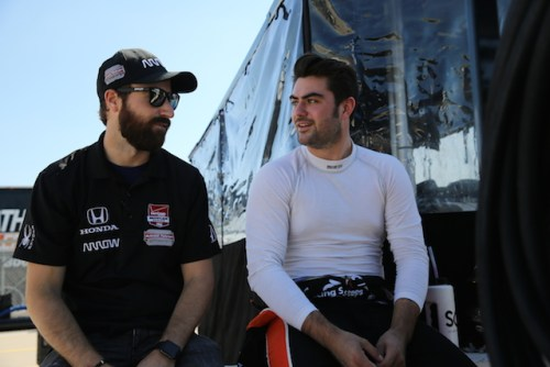 Indy Lights points leader Jack Harvey gets some Iowa Speedway advice from his teammate James Hinchcliffe (who won here in 2013) (Photo courtesy of Indianapolis Motor Speedway, LLC Photography)