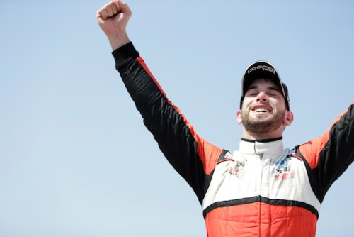 Belardi Auto Racing rookie Felix Serralles celebrates his first Indy Lights presented by Cooper Tire victory (Photo courtesy of Indianapolis Motor Speedway, LLC Photography)