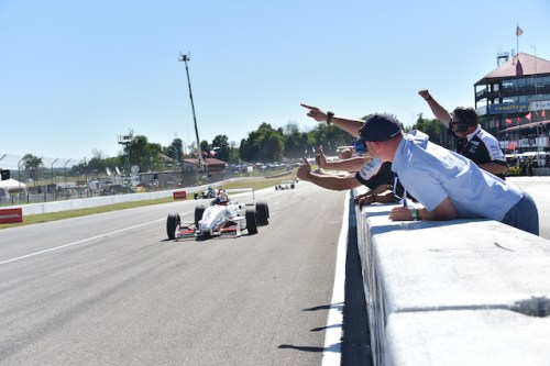 Nico Jamin celebrates his second USF2000 win of he weekend with his Cape Motorsports with /WTR team (Photo courtesy of Indianapolis Motor Speedway, LLC Photography)
