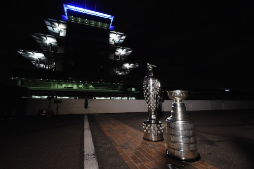 "The iconic Borg Warner  and Stanley Cup Trophies meet on the ""Yard Of Bricks"" at the Indianapolis Motor Speedway ((Photo courtesy of Indianapolis Motor Speedway, LLC Photography) - Chris Owens)"