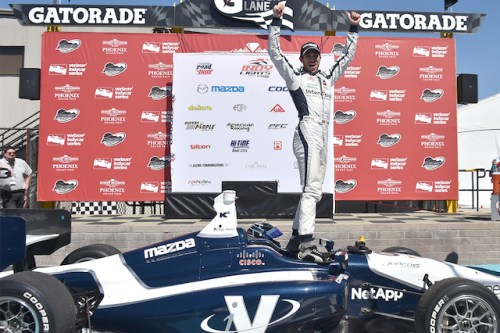 Kyle Kaiser won his first Indy Lights Presented by Cooper Tire race at Phoenix International Raceway almost exactly 30 years after the forerunning American Racing Series made it's debut 30 years ago. (Photo courtesy of Indianapolis Motor Speedway, LLC Photography)
