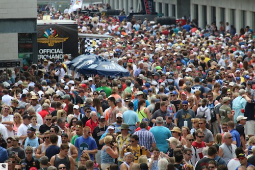 A large crowd mobs the plaza at the Pagoda on Carb Day. TSO Photo by Blake Johnson