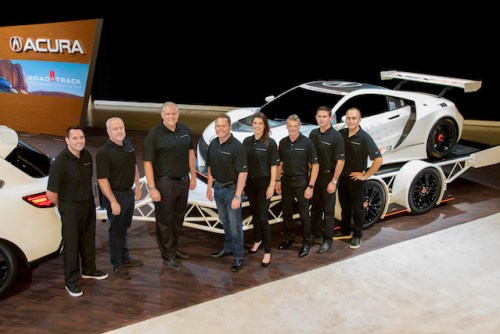 "2017 Acura Motorsports drivers and team owners pose with Art St. Cyr, president, Honda Performance Development.  From left: Ryan Eversley (driver, RealTime Racing), RTR owner Peter Cunningham, St. Cyr; team owner Michael Shank; MSR drivers Katherine Legge, Oswaldo ""Ozz"" Negri, Andy Lally and Jeff Segal.  Not pictured: RTR driver Peter Kox. (photo courtesy of Acura Motorsports)"