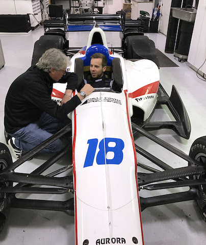 Ed Jones, 2016 Indy Lights Presented by Cooper Tire champ, ties out the No. 18 Dale Coyne Racing Honada for size, while his race engineer Michael Cannon looks on. (Photo courtesy of Dale Coyne Racing)