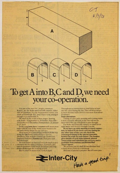 This is an announcement of September 1978 from Inter City to make passengers aware of how the lowering of the track inside three tunnels on the East Coast Main Line would affect journey times over the coming months. It illustrates how the tunnels (B, C and D) were to be enlarged to allow larger continental containers (A) to pass through. Two of the affected tunnels were either side of Grantham, at Stoke and Peascliffe, and thus under the control of Grantham signal box. John Pegg and his colleagues at the box managed temporary single line running arrangements without a pilotman during the daytime, when the tunnels were open for traffic. From the Local Studies Collection at Grantham Library.