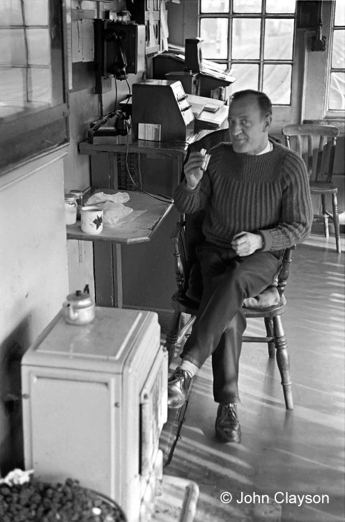 The signalman whose 'afternoon tea' we've interrupted is Jock Drummond. The lever frame is out of shot on the right – the shadows of the levers can be seen across the floor. Photograph taken on 16th April 1964 by Cedric A. Clayson.