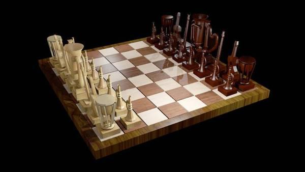 diseno grafico alumnos modelado 3d ajedrez instrumentos