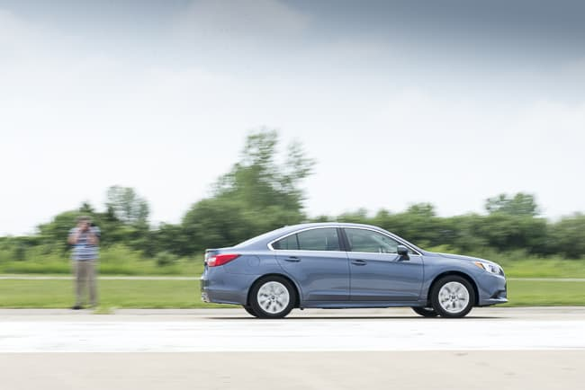 2015 Subaru Legacy review side view blue