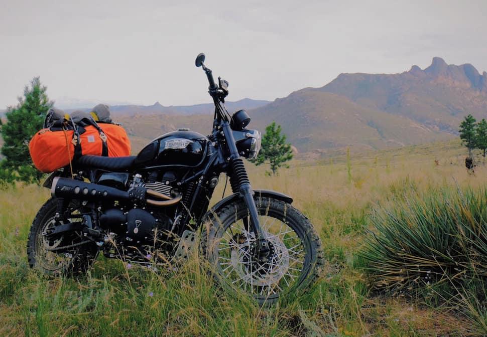 topo x woolrich duffel bag motorbike
