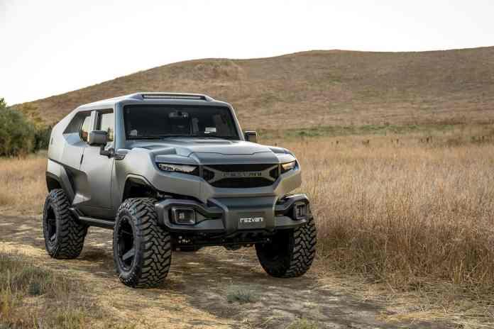 rezvani motors tank military car front profile