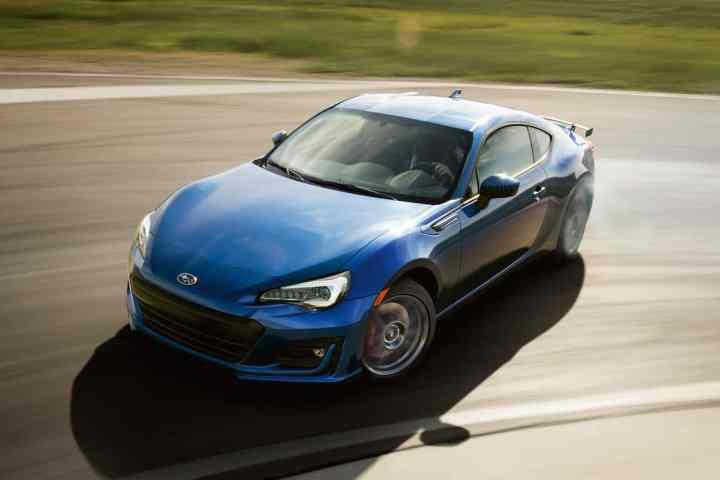 2018 subaru brz sport-tech drifting in blue