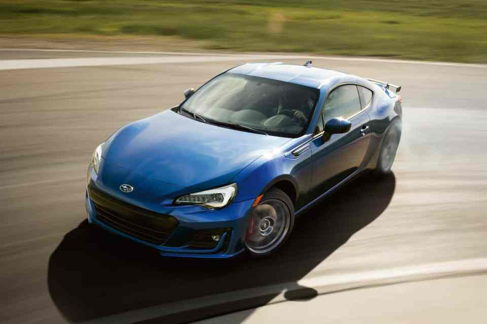 2018 subaru brz sport-tech drifting in blue