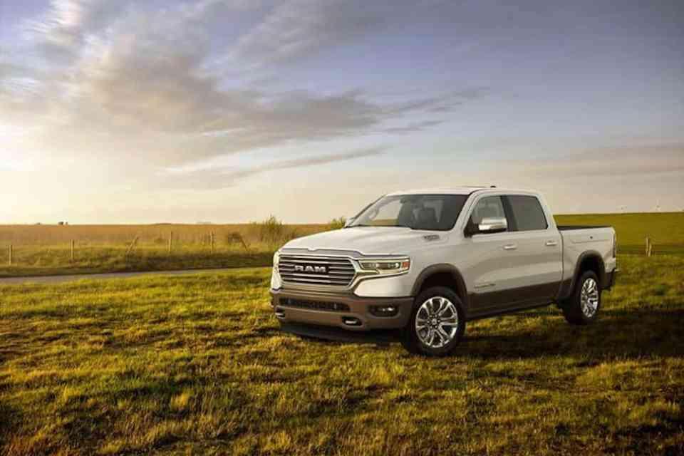 new ram truck Laramie Longhorn – Crew Cab white front view