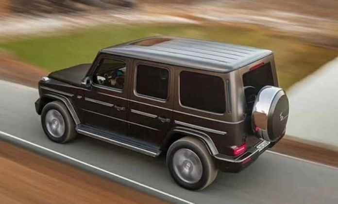 2019 mercedes-benz g-class wagon rear rolling top view