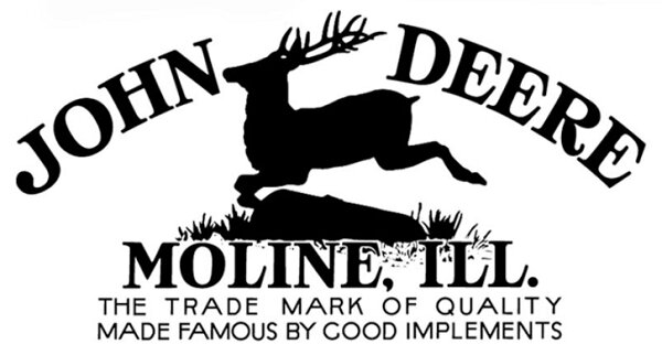 Logo de John Deere de 1912 con su lema: La marca famosa por sus aperos de calidad