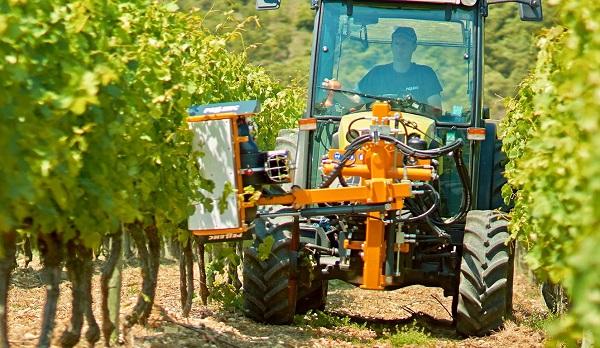 Tractor Claas con deshojadora Pellenc