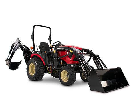 Tractor Yanmar de la serie SA con pala y retroexcavadora
