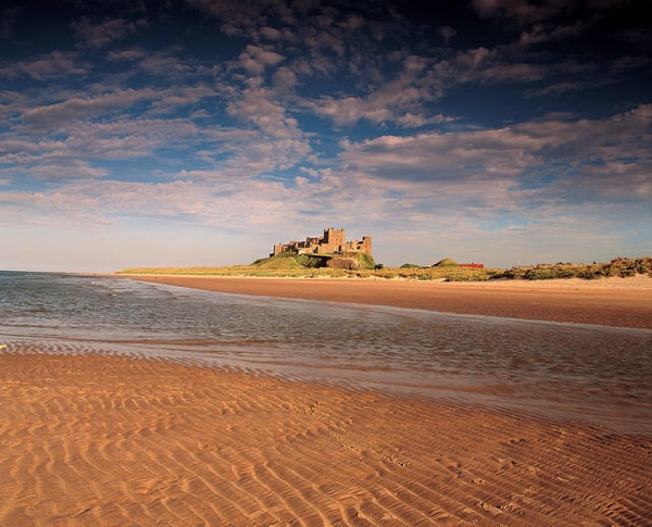 Bamburgh, castle, beach, Northumberland, camping