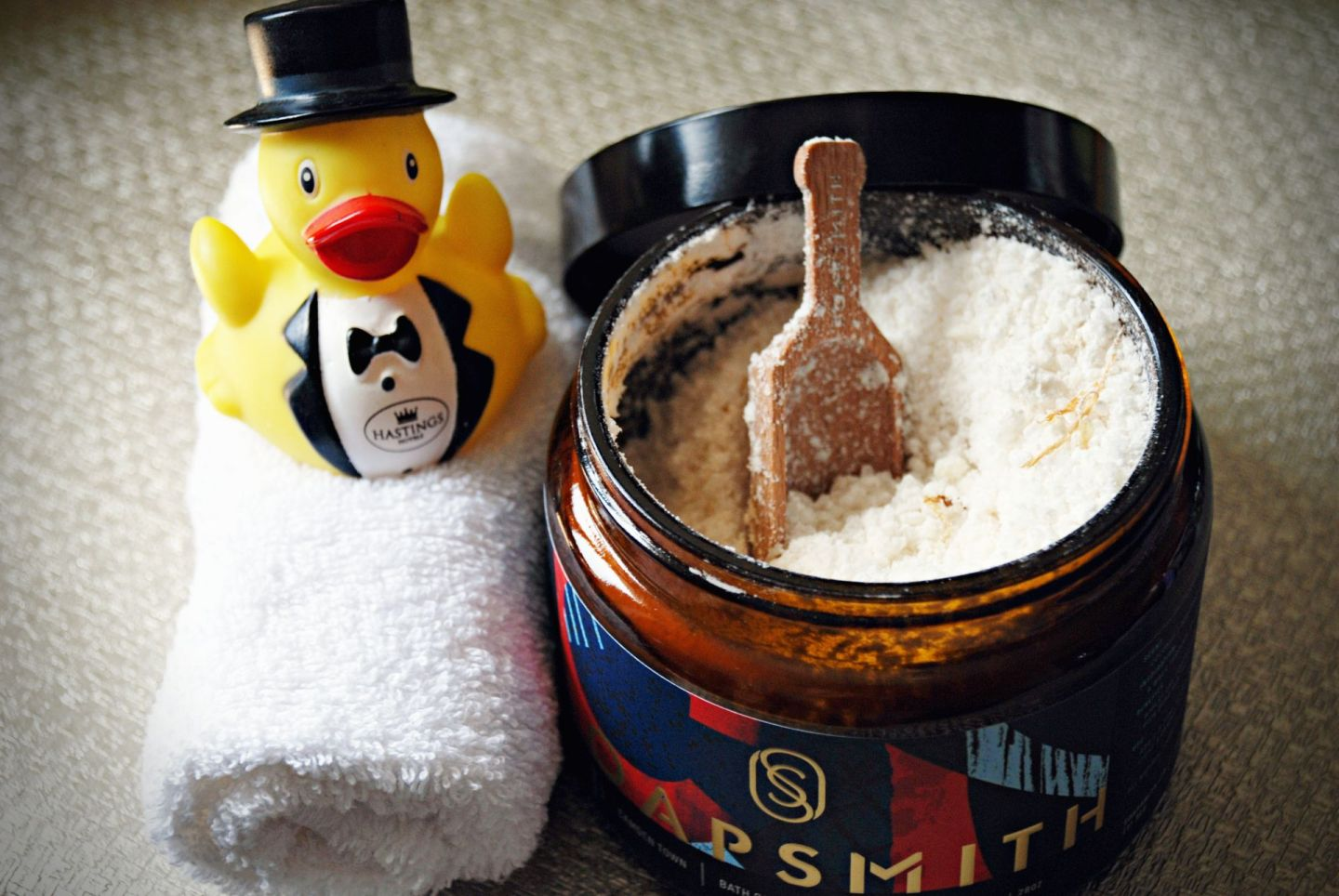 Jar of Soapsmith bath salts with rubber duck