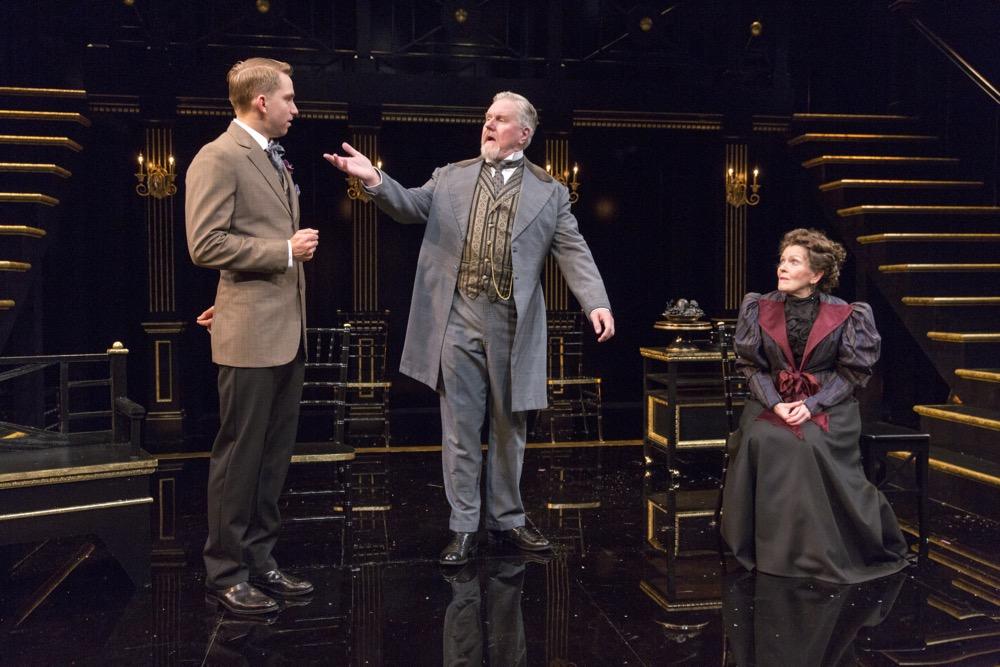 Alec Shaw, Dan Daily and Carol Schultz in Shaw's Major Barbara at the Pearl Theatre.  PHOTO CREDIT- Richard Termine