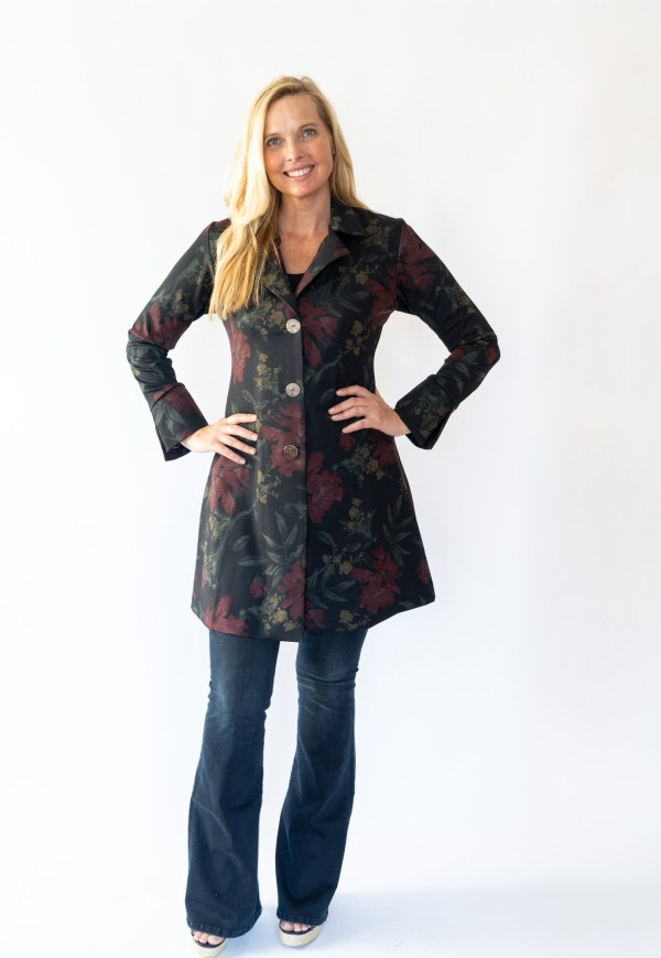 Tracy Gold Collection floral coat dress with jeans