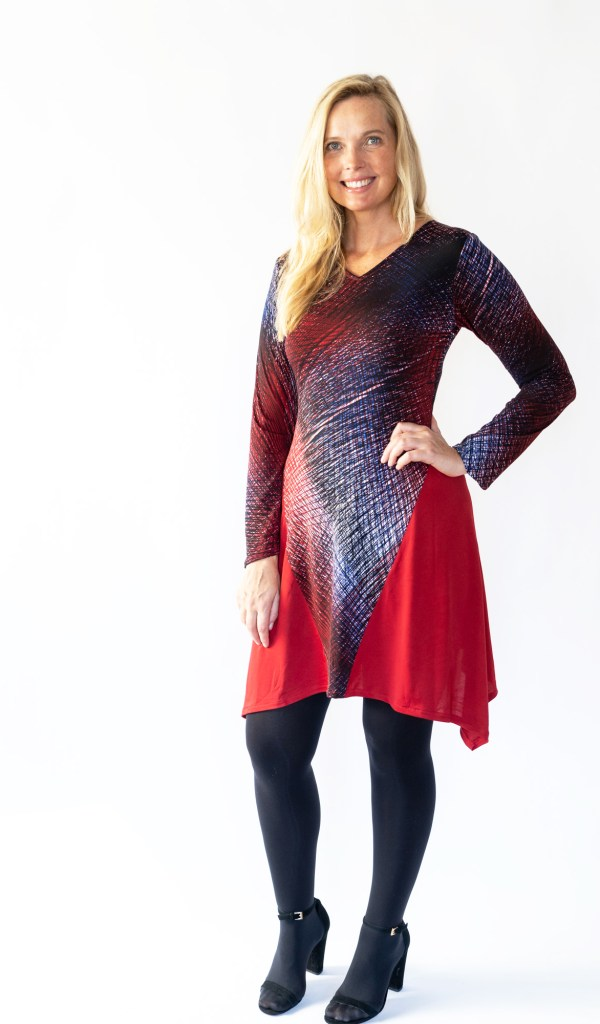 Tracy Gold Collection abstract red dress