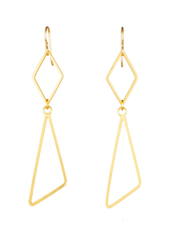 Tracy Gold Curated Illuminated Me Diamond with Tri-Angle Earrings