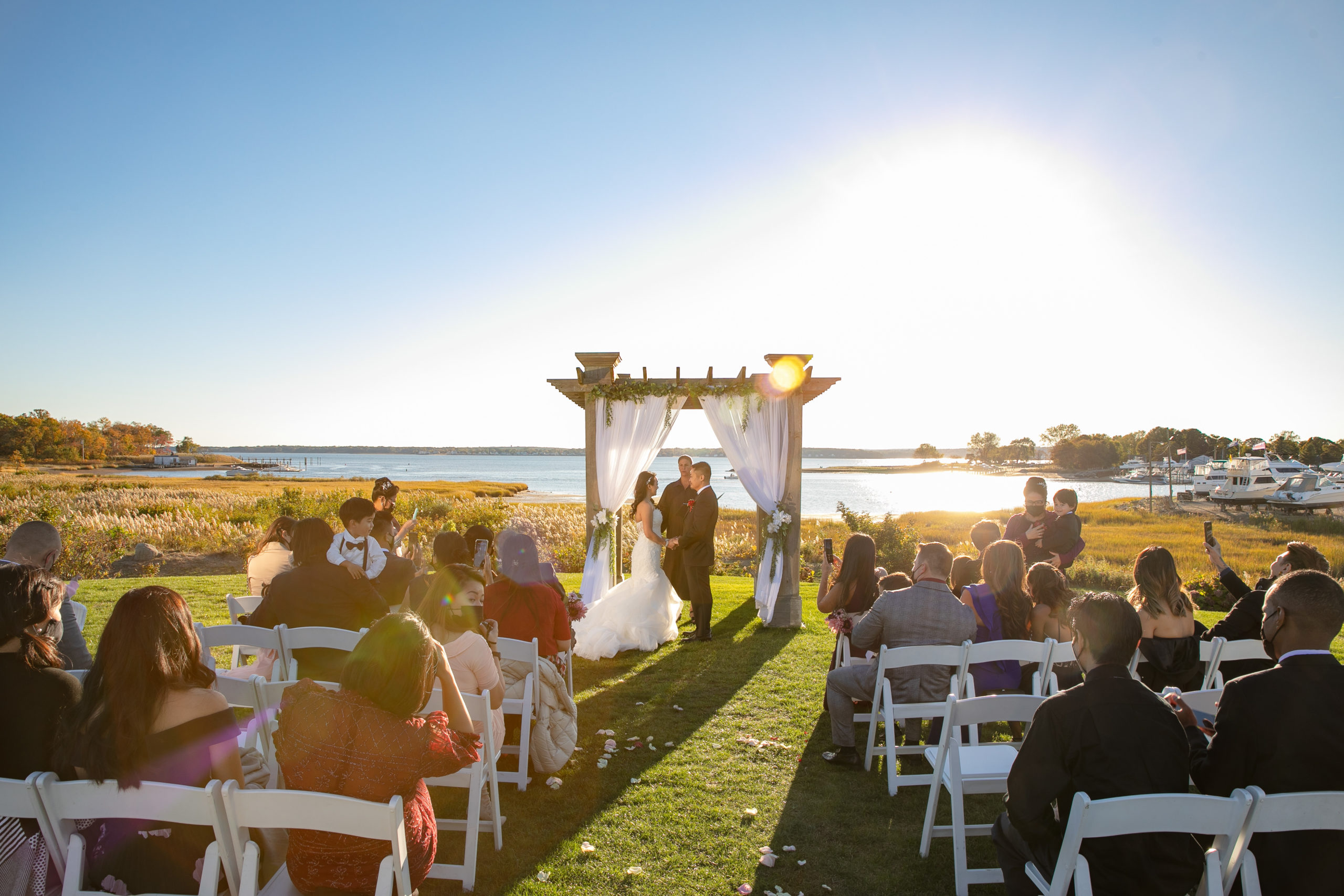 Harbor lights, warwick, rhode island, RI, Tracy Jenkins Photography, RI wedding photographer, Rhode Island wedding photographer, micro-wedding, wedding ceremony, seaside wedding, ocean wedding