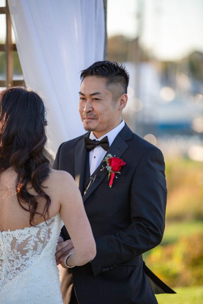 Harbor lights, warwick, rhode island, RI, Tracy Jenkins Photography, RI wedding photographer, Rhode Island wedding photographer, micro-wedding, groom, wedding ceremony