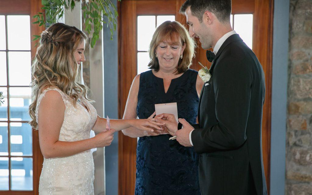 Wedding, Narragansett Towers, The Towers, Narragansett, Rhode Island, RI, Tracy Jenkins photography, RI wedding photographer, Rhode Island wedding photographer, wedding ceremony, ring exchange