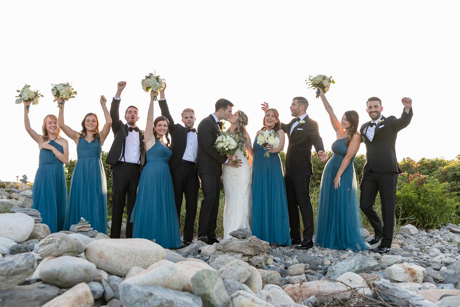 Wedding, Narragansett Towers, The Towers, Narragansett, Rhode Island, RI, Tracy Jenkins photography, RI wedding photographer, Rhode Island wedding photographer, wedding formals, bridal party, wedding party, wedding party formals, navy dresses