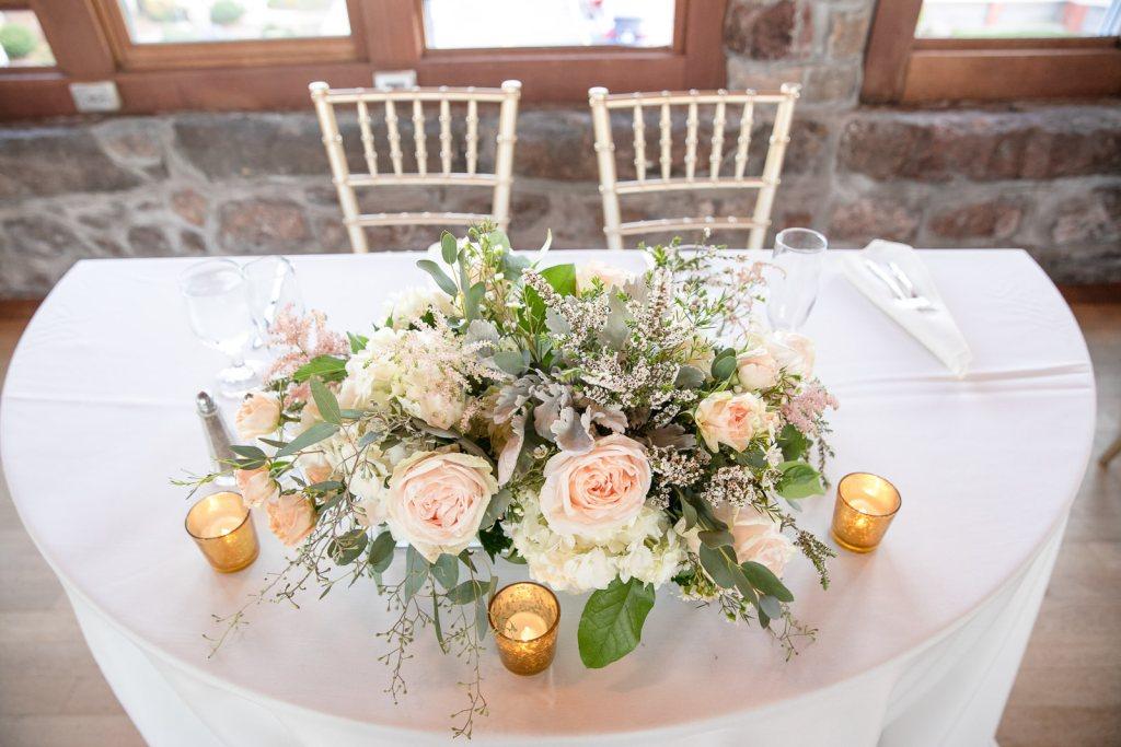 Wedding, Narragansett Towers, The Towers, Narragansett, Rhode Island, RI, Tracy Jenkins photography, RI wedding photographer, Rhode Island wedding photographer, sweetheart table, wedding reception, flowers