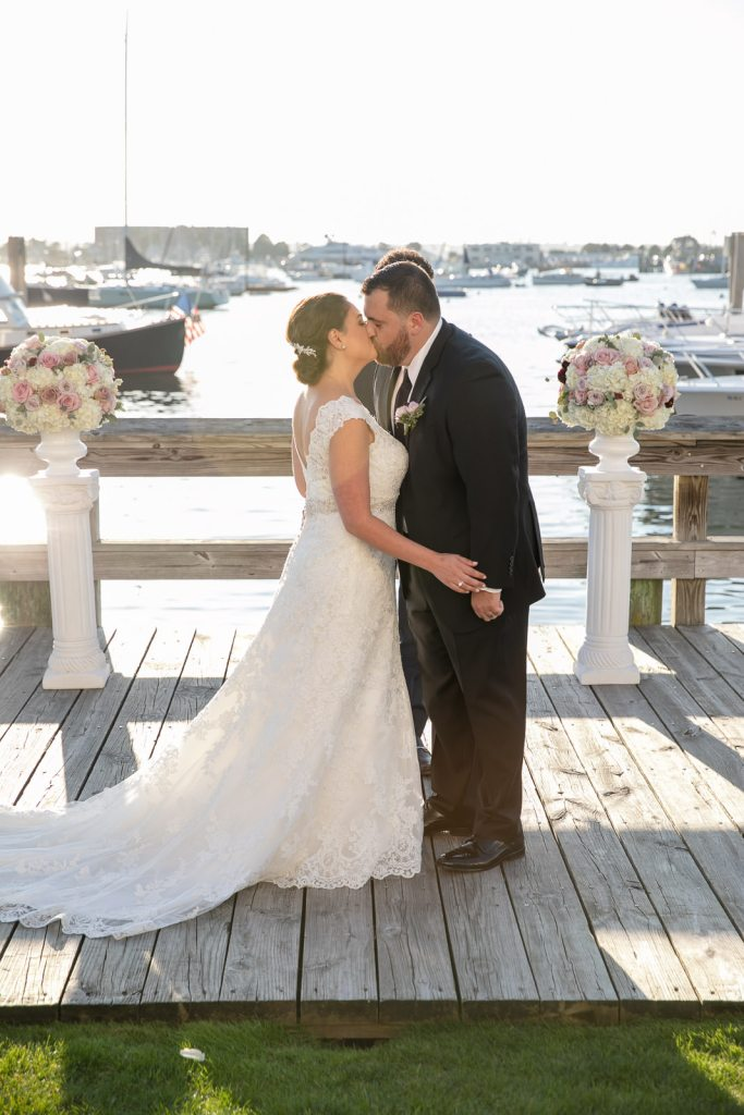 Newport Harbor Hotel, Newport harbor hotel and Marina, Newport, rhode island, beach wedding, harbor wedding, coastal wedding, wedding, Tracy jenkins photography, RI wedding photographer, Rhode Island wedding photographer, wedding ceremony, kiss