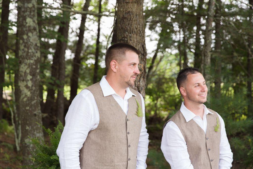 Coventry, Rhode Island, RI, Backyard Wedding, forest, earthy, wedding, tracy jenkins photography, wedding photographer, ri wedding photographer, Rhode Island Wedding photographer, groom, coming down the aisle