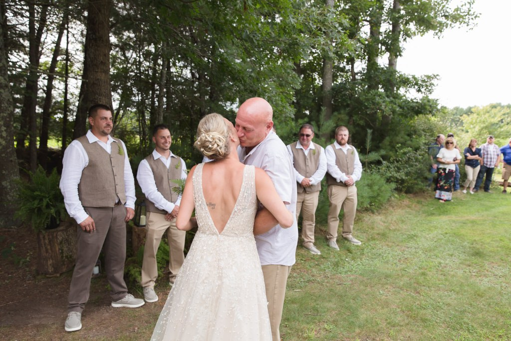 Coventry, Rhode Island, RI, Backyard Wedding, forest, earthy, wedding, tracy jenkins photography, wedding photographer, ri wedding photographer, Rhode Island Wedding photographer, giving the bride away, wedding in the woods
