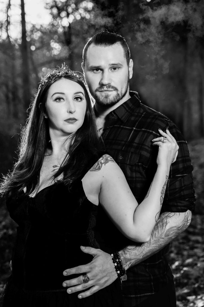 Styled engagement shoot, pagan engagement shoot, witchy engagement shoot, bride, groom, woods, earth, fall, dark, candles, ritual