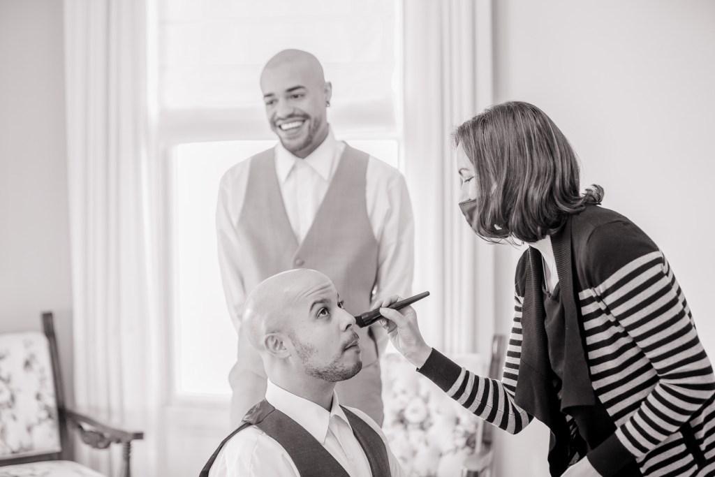 Eisenhower House, Newport, Rhode Island, Tracy Jenkins Photography, wedding, LGBTQ+, LGBT, Gay, Inclusive, Photography, Wedding photography, getting ready, make-up