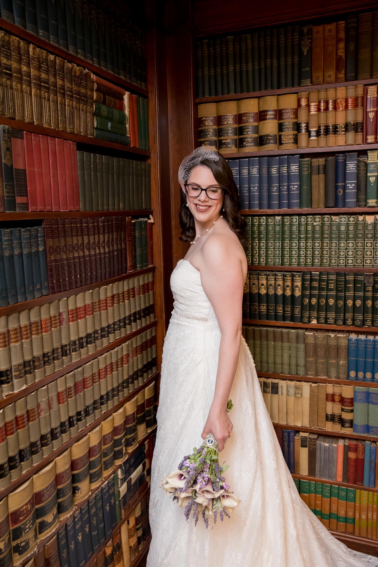 library, bridal portrait, wedding, tracy jenkins photography, publick house, Massachusetts, new england,  photography