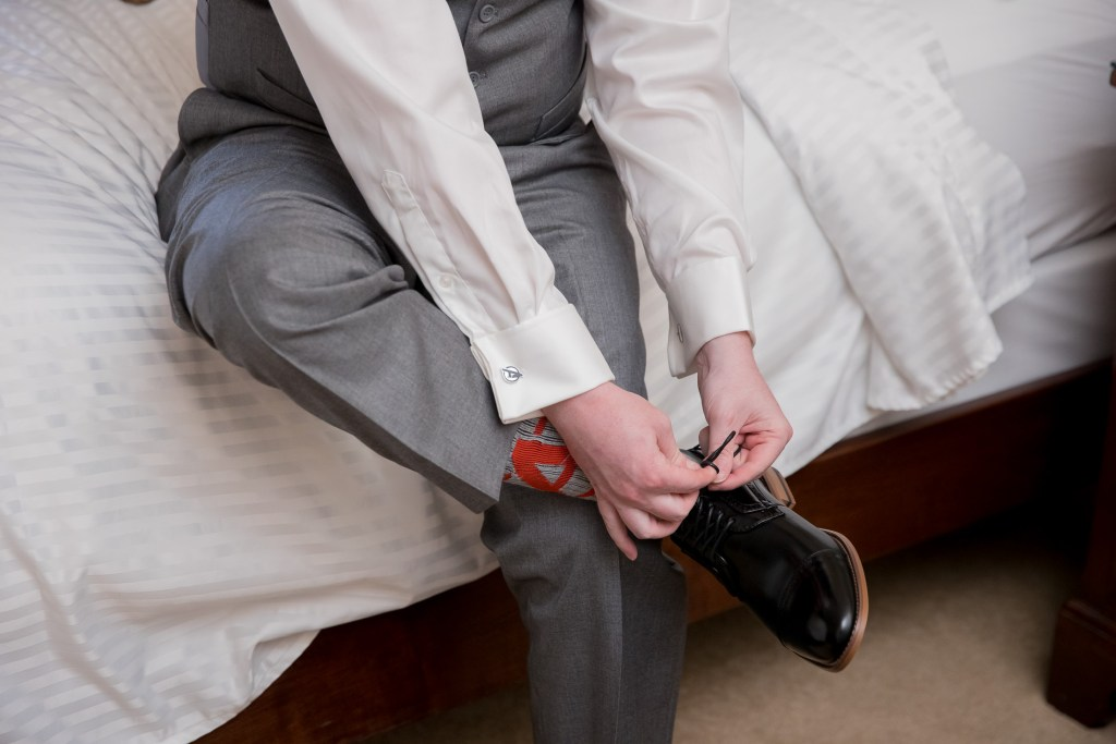 tie shoes, getting ready, wedding, groom, tracy jenkins photography, publick house, Massachusetts, new england,  photography
