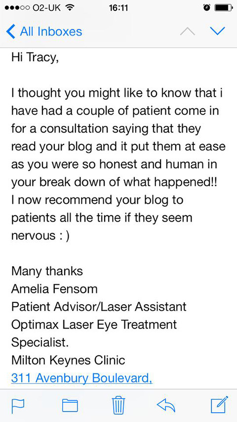 An Email I Received From The Lovely Optimax Staff In Milton Keynes