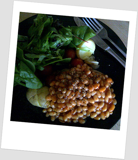 Day 1 Dinner: Potatoes, Salad & Beans
