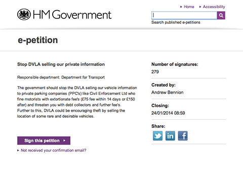 I Signed An e-petition To Stop The DVLA Selling Our Personal Details To Private Parking Companies Issuing Fines