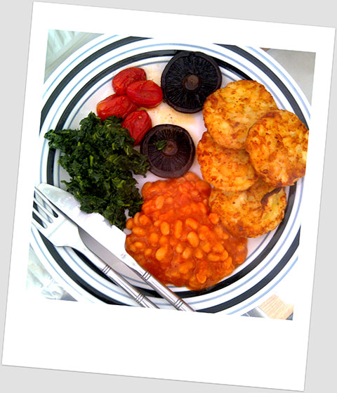 Breakfast Day 12: Potato Rosti, Chestnut Mushrooms, Spinach, Cherry Tomatoes & Baked Beans