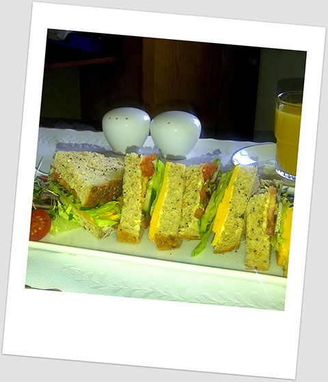 Dinner Day x: Cheese, Tomato & Salad Sandwich On Wholegrain Bread With A Glass Of Orange Juice