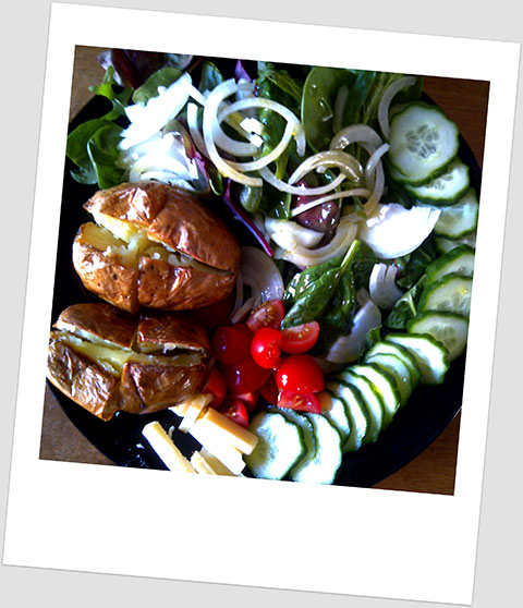 Dinner Day 27: Jacket Potatoes With Cucumber, Cheddar, Cherry Tomatoes, Red Onion And Baby Leaf Salad