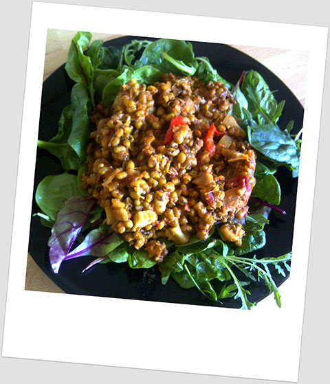 Lunch Day 17: Curried Mung Beans And Ginger With Baby Leaf Salad